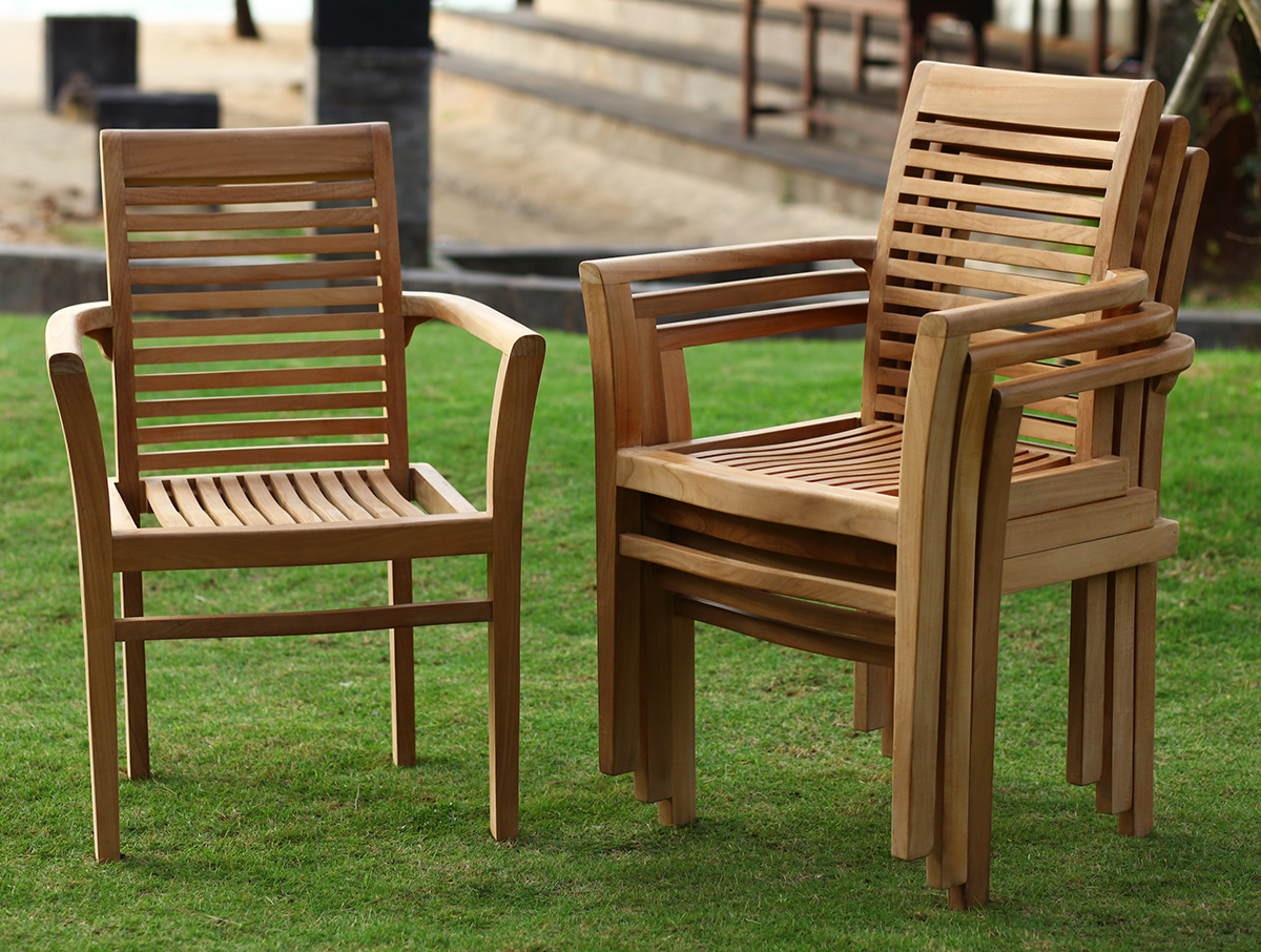 DUBLIN TEAK STACKING ARM CHAIR