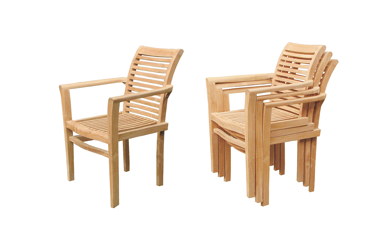 DUBLIN TEAK STACKING ARM CHAIR - Click Image to Close