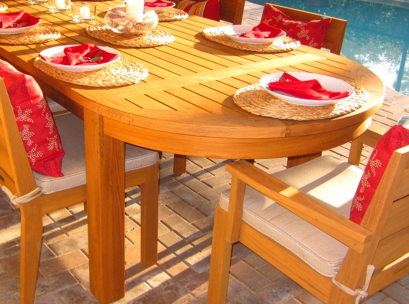 Bedrock Teak Oval Table - Click Image to Close
