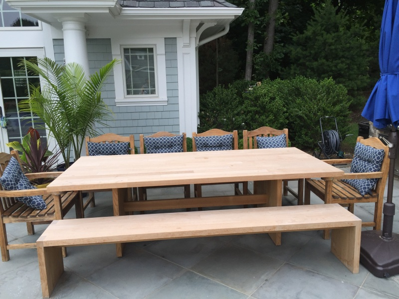 Teak dining tables teak outdoor furniture from benchsmith teak solid top table watchthetrailerfo
